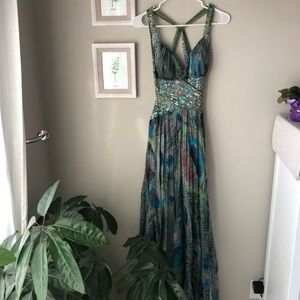 Jovani Peacock Print Long Evening Gown